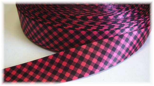 7/8 SALE SATIN HOT PINK BLACK GINGHAM CHECK - VENUS -  5 YARDS