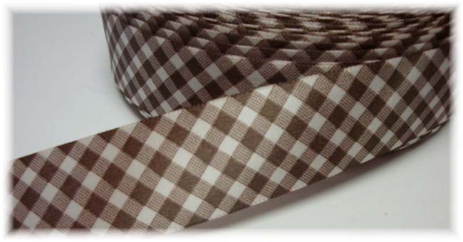 7/8 SALE SATIN WHITE BROWN GINGHAM CHECK - VENUS -  5 YARDS