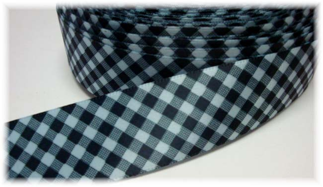 5/8 SALE SATIN BLUE NAVY GINGHAM CHECK - VENUS -  5 YARDS