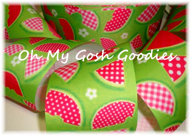 "3"" GINGHAM & DOT LIME WATERMELONS - 5 YARDS"