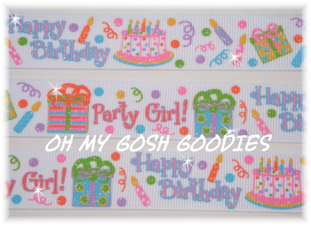 7/8 GLITTER BIRTHDAY PARTY GIRL - 5 YARDS