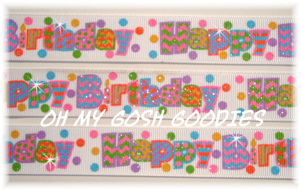 7/8 GLITTER HAPPY BIRTHDAY - 5 YARDS