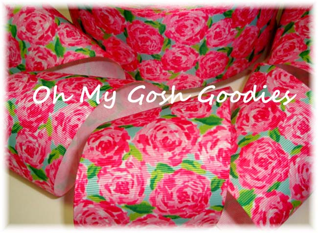 "3"" DESIGNER PINK ROSE BLOOMS - 5 YARDS"
