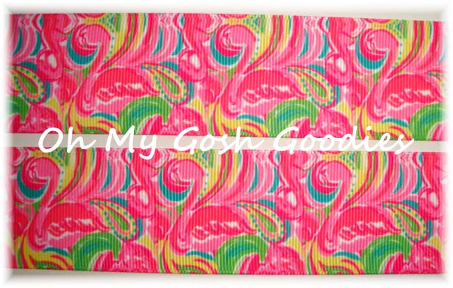 1.5 DESIGNER PINK PAISLEY FLAMINGO - 5 YARDS