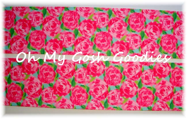 1.5 DESIGNER PINK ROSE BLOOMS - 5 YARDS