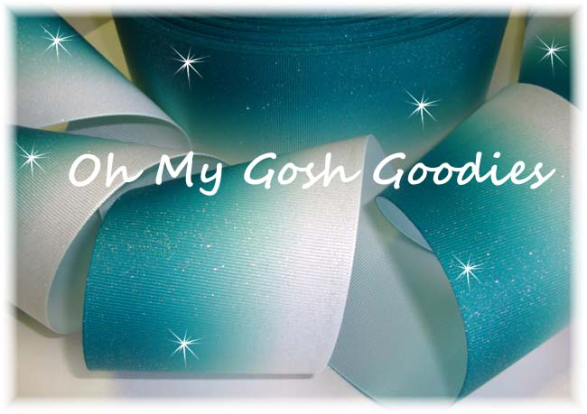 "3"" OOAK GLITTER TEAL / JADE  OMBRE CHEER - 4 YARDS"