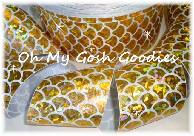 "3"" * GOLD CRACKLE * HOLOGRAM MERMAID SHELLS  - 5 YARDS"
