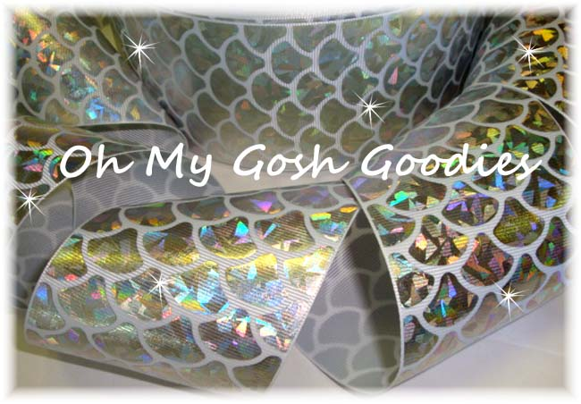 "3"" * SILVER CRACKLE * HOLOGRAM MERMAID SHELLS  - 5 YARDS"
