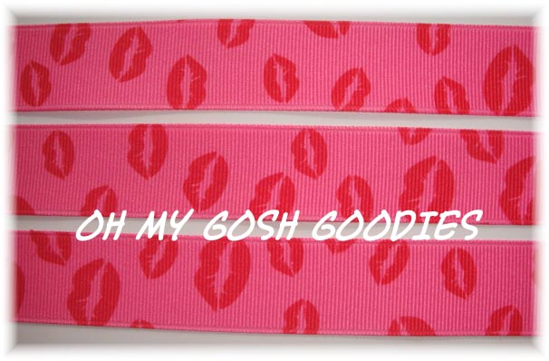7/8 SHOCKING PINK RED KISS ME BABY LIPS - 5 YARDS