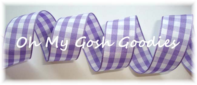 7/8 ORCHID WHITE BOLD CHECK RIBBON - 5YD
