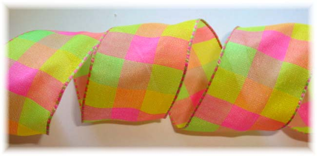 1.5 OOAK PINK LIME YELLOW  WIRED CHECK - 3  YARDS