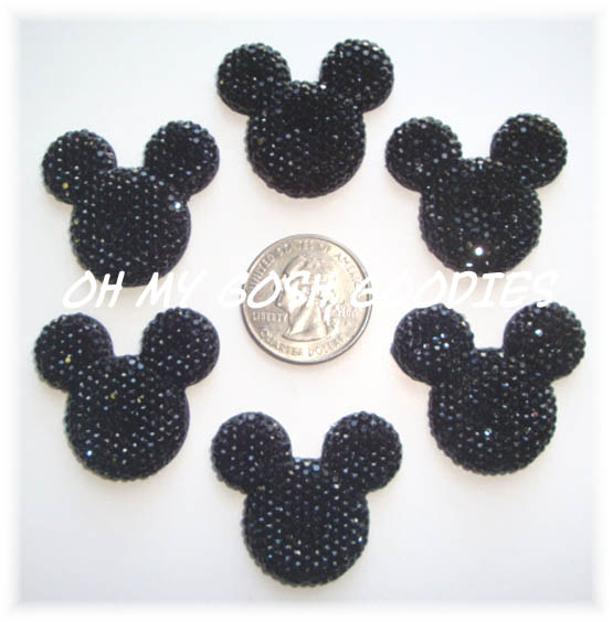 2PC MOUSE HEAD BLING BLACK RESINS