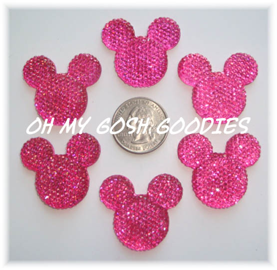 2PC MOUSE HEAD BLING HOT PINK RESINS