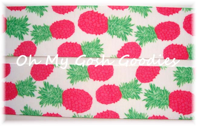 1.5 DESIGNER * PREPPY RASPBERRY * PINEAPPLE  - 5 YARDS