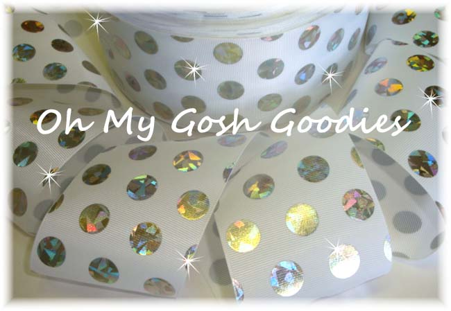 3 * CONFETTI * CRACKLE DOTS SILVER HOLOGRAM WHITE - 5 YARDS