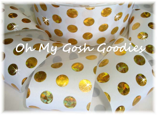 3 * CONFETTI * CRACKLE DOTS GOLD HOLOGRAM WHITE - 5 YARDS