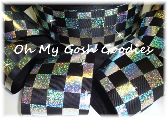 "3"" OOAK CHEER *CHECKER * BLACK SILVER HOLOGRAM  - 4 1/2 YARDS"