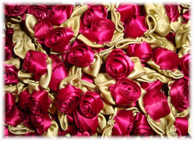 12PC MAROON BARREL ROSEBUD EMBELLISHMENTS