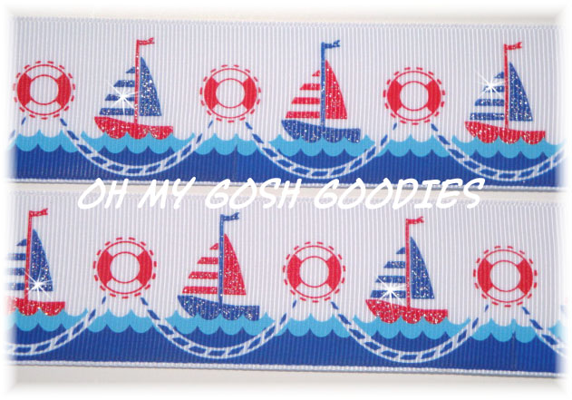 1.5 GLITTER SAILBOAT SWEETIE - 5 YARDS