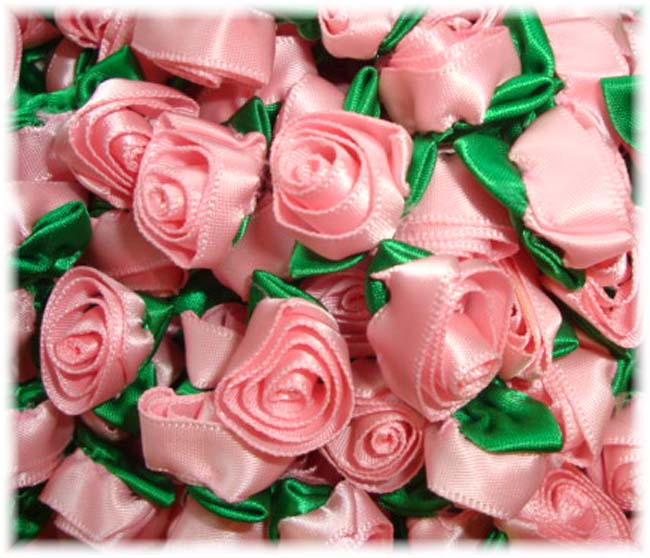 12PC PINK BARREL ROSEBUD EMBELLISHMENTS