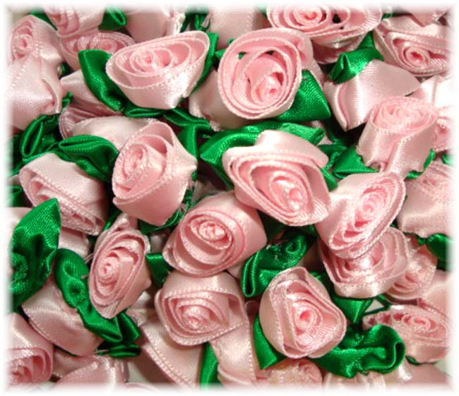 12PC * LIGHT * PINK BARREL ROSEBUD EMBELLISHMENTS