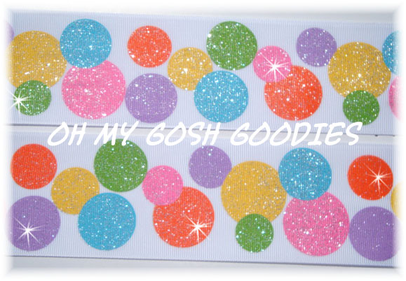2 1/4 RAZZLE DAZZLE GLITTER DOTS BRIGHT - 5 YARDS