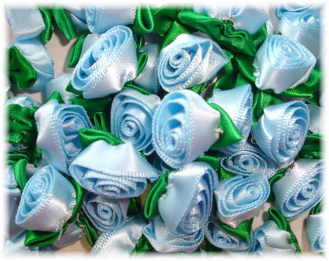 12PC BLUE BARREL ROSEBUD EMBELLISHMENTS