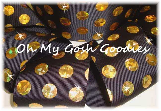 3 * CONFETTI * CRACKLE DOTS GOLD HOLOGRAM BLACK - 5 YARDS