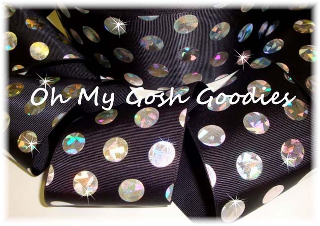 3 * CONFETTI * CRACKLE DOTS SILVER HOLOGRAM BLACK - 5 YARDS