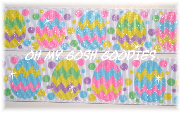 1.5 JUMBO GLITTER CHEVRON EASTER EGGS - 5 YARDS