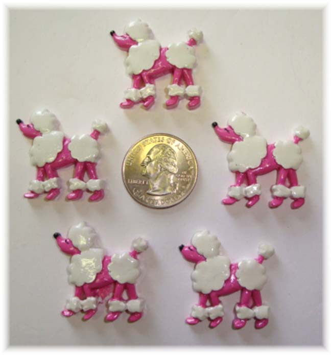 1PC PINK POODLE RESIN