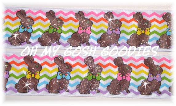 1.5 CHEVRON GLITTER CADBURY BUNNIES = 5 YARDS