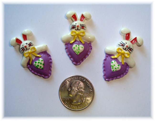 2PC EASTER BUNNY PURPLE HEART RESIN