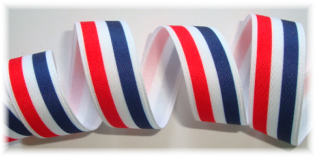 5/8 OOAK RED/WHITE/NAVY STRIPE - 4+ YARDS