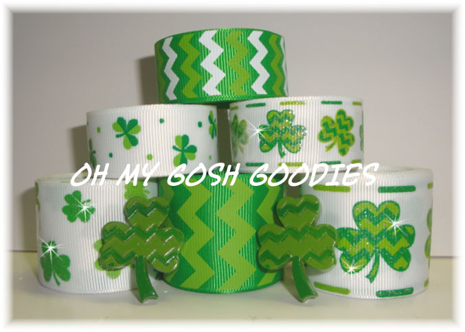 CHEVRON SHAMROCK GLITTER RIBBON MIX