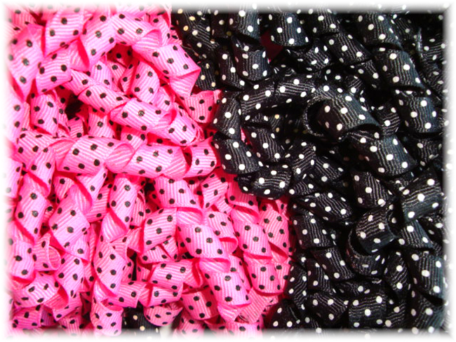3/8 KORKER PINK BLACK POODLE DOT MIX - KM60