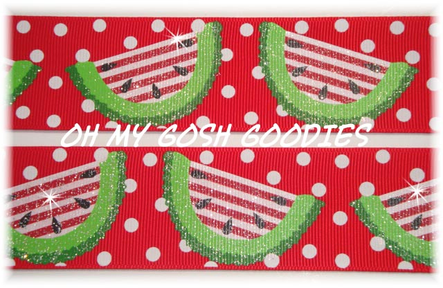 1.5 GLITTER POLKA DOT WATERMELON - 5 YARDS