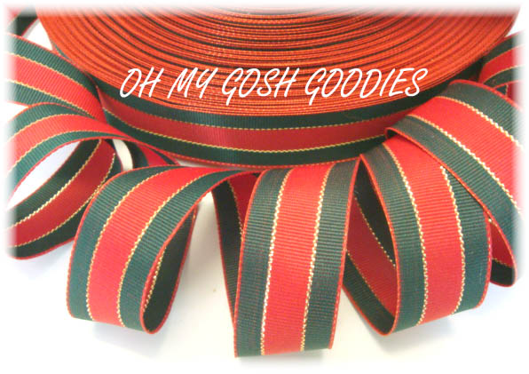 7/8 CHRISTMAS RED FOREST GOLD STRIPE - 5 YARDS