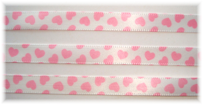 3/8 OFFRAY VALENTINE PINK HEARTS - 5 YARDS