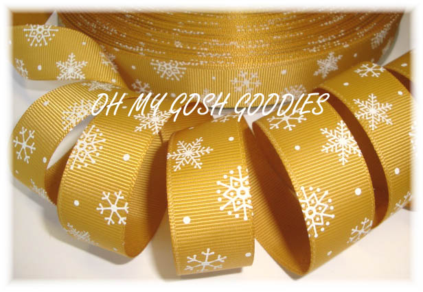 7/8 GOLD WHITE SNOWFLAKES - 5 YARDS
