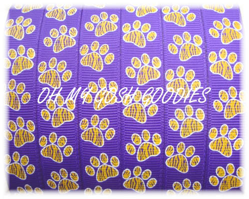 * 5/8 * TIGER PRINT PAWS PURPLE/GOLD - 5 YARDS
