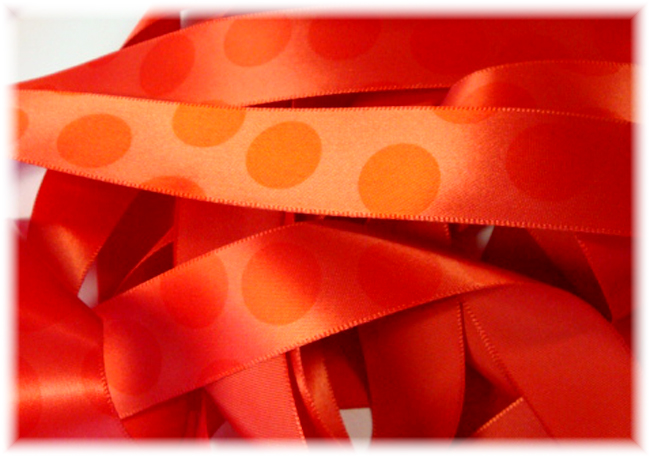 7/8 VENUS SATIN ORANGE JUMBO DOTS - 5 YARDS