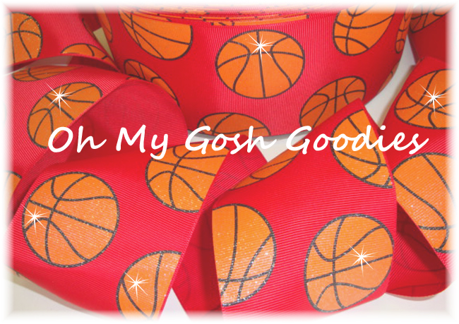 "3"" GLITTER BASKETBALL RED - 5 YARDS"