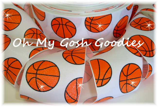 "3"" GLITTER BASKETBALL WHITE - 5 YARDS"