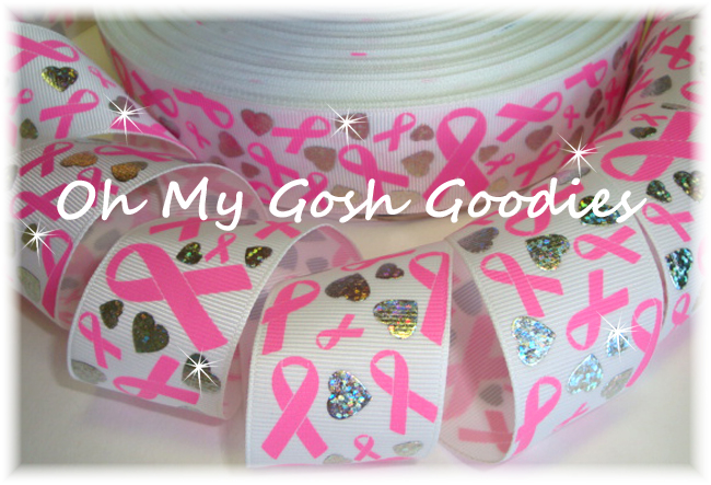 1.5 HOLOGRAM HEART BREAST CANCER AWARENESS WHITE - 5 YARDS