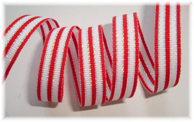 3/8 CHRISTMAS RED WHITE SILVER STRIPE - 6 YARDS