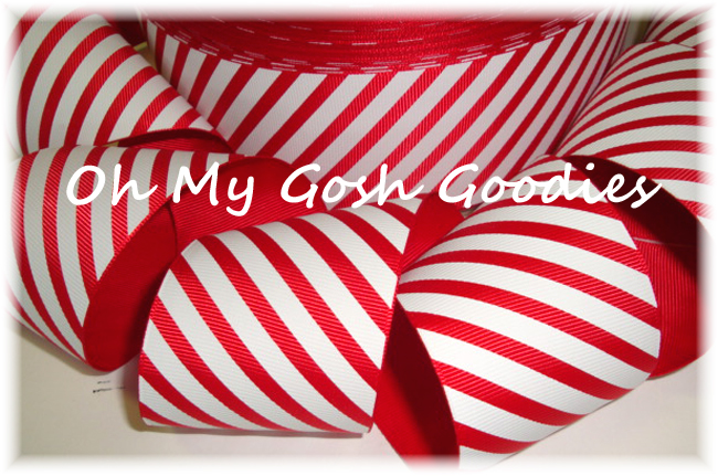 2 1/4  CHRISTMAS PEPPERMINT DIAGONAL STRIPE - 5 YARDS