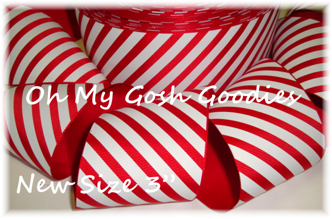 "3"" CHRISTMAS PEPPERMINT DIAGONAL STRIPE - 5 YARDS"