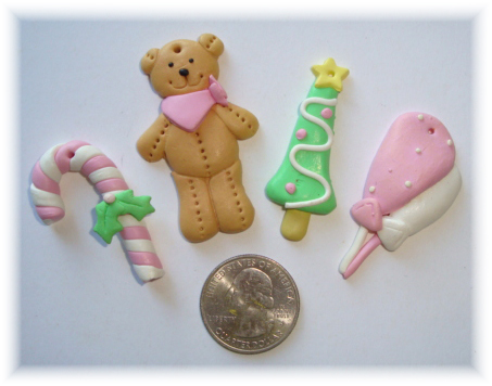 4PC OOAK PINK HOLIDAY CHRISTMAS BEAR RESINS