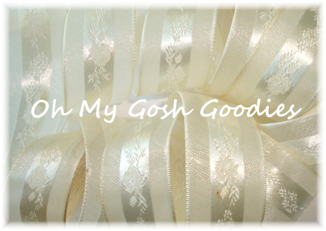 7/8 IVORY EMBOSSED FLORAL SHEER RIBBON - 5 YARDS